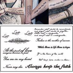 iAppeals 1 Sheet Temporary English Word Tattoo Stickers Black Letters Feather Body Art Tattoos Sticker Waterproof For Temporary Tattoos - Brand Name: Shellhard Real Tattoo, Diy Tattoo, Tattoo Ideas, Pierce The Veil, Word Tattoos, Body Art Tattoos, Tribal Tattoos, Mantra, Tatoo