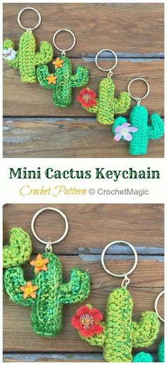 Crochet and Knit Appliques, Fashions, Shoes, Patterns, Inspirations Crochet Cactus Free Pattern, Crochet Keychain Pattern, Cute Crochet, Crochet Crafts, Easy Crochet, Crochet Toys, Crochet Projects, Crochet Animals, Cactus Keychain