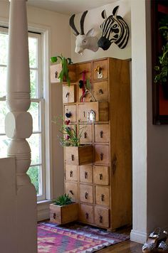 Vertical cubby garden with Paper Mache animal heads from Anthro
