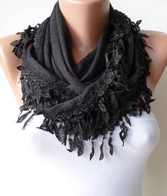 Black Cotton Scarf with Black Trim Edge by SwedishShop on Etsy, $15.90