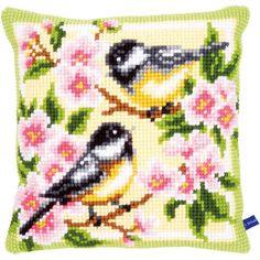 "Vervaco Birds And Blossoms Cushion Cross Stitch Kit 15.75"" x 15.75"" V0143499 | MapleTreeHouse.com – Maple Treehouse"
