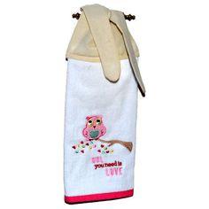 Owl Towel, Kitchen Hand Towel, Dish Towel, Tie On Towel,Tea Towel, Towel  With Ties, Hanging Hand Towel, Owl Decor, Valentine Towel, Hearts