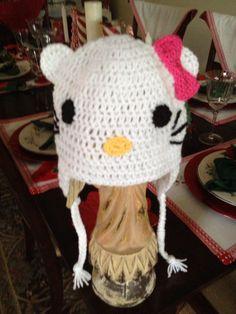 Hand Crocheted Hello kitty Hat