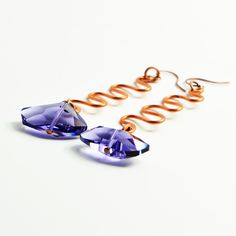 Crystal and Copper Hand-Hammered Long-Drop Earrings