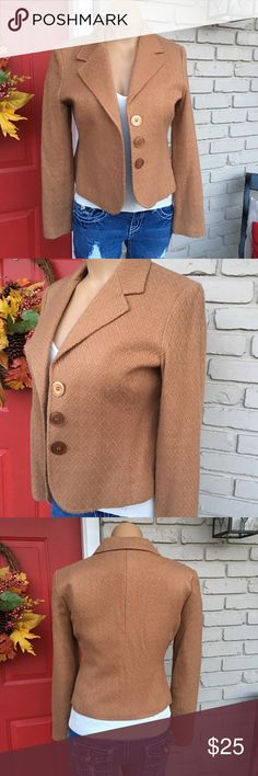 Tan three button crop blazer Beautifully textured light tan three button crop blazer. Fully lined. Looks great for work or played down with jeans. Cato Jackets & Coats