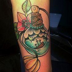 Ship in a Bottle tattoo by f1n1x on DeviantArt
