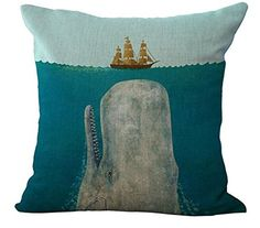 Big whale Big shark and boat Pillow Case Cotton Blend Linen Cushion Cover Sofa D. : Big whale Big shark and boat Pillow Case Cotton Blend Linen Cushion Cover Sofa Decorative Square 18 Inches family life Modern Throw Pillows, Sofa Throw Pillows, Kids Pillows, Throw Pillow Cases, Cushions On Sofa, Pillow Covers, Pillow Set, Whale Pillow, Big Whale