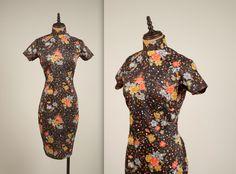 1950er Jahre floral Cheongsam Kleid Vintage von MintageClothingCo