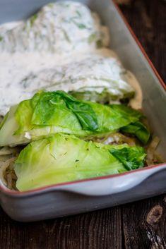 młoda kapusta zapiekana Fresh Rolls, Mozzarella, Cabbage, Food And Drink, Vegetables, Ethnic Recipes, Diet, Cooking, Cabbages