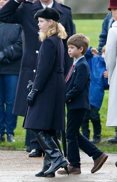 Lady Louise Windsor and James, Viscount Severn depart after attending the Sunday service at St Mary Magdalene Church, Sandringham on December 27, 2015 in King's Lynn, England.
