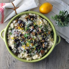 Eggplant and Meyer Lemon Risotto  http://www.turntablekitchen.com/2012/02/eggplant-and-meyer-lemon-risotto-color/