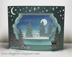 Carols of Christmas Diorama Card. Yep its another Diorama . this time Ive used the Carols of Christmas bundle to create this little Christmas scene in peaceful blues and glimmer paper. If you are interested in seeing the other Diorama I did back in 2014 Christmas Scenes, Christmas Carol, Little Christmas, Christmas 2016, Christmas Tree, Pop Up Cards, Xmas Cards, Stampin Up Christmas, Christmas Crafts