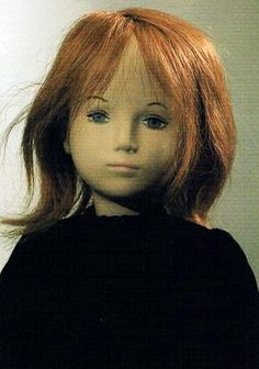 Close up of Sasha Studio doll called Jeanne, as seen on a souvenir postcard sold by the Bärengasse Puppenmuseum in Zürich, Switzerland, date unknown, by Sasha Morgenthaler. Redhead Art, Gotz Dolls, Cool Face, Sasha Doll, Dream Doll, New Dolls, Along The Way, Doll Patterns, Beautiful Dolls