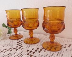 Vintage Amber Glass Goblet Set Indiana Carnival Thumbprint Glassware Autumn Fall Halloween 70's Home Decor Kings Crown Orange Wedding