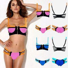 cffb6c591d Sexy Contrast Color Zipper Bandage Swimwear Bikini Suit Sexy Bikini