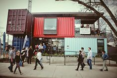 Rainey Street is THE destination in downtown Austin. One of our favorite spots is Container Bar with their stylish and renovated shipping containers providing the perfect atmosphere for a late night drink. Shipping Container Restaurant, Shipping Container Homes, Shipping Containers, Container Bar, Container Design, Pipe Railing, Restaurant Plan, Kimpton Hotels, Container Buildings
