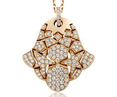 "Khmissa Pendant, ""Zellij"" Collection - Pink gold, diamonds"