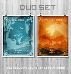 CLEARANCE sale 50% - DUO poster Game of Thrones, TV poster Set, House Stark, House Targaryen, Game of Thrones decor, by PosterInvasion on Etsy