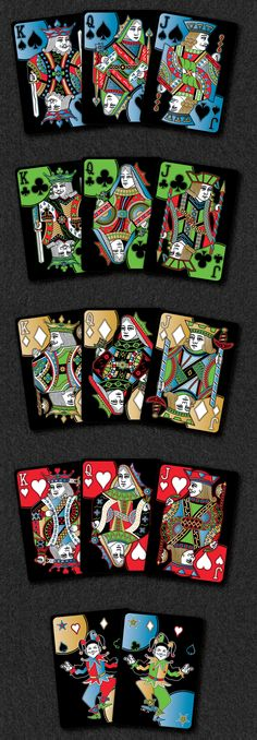 Rainbow Illusion Playing Cards Metallic Relaunch by Landry Sanders . Court cards details — Kickstarter