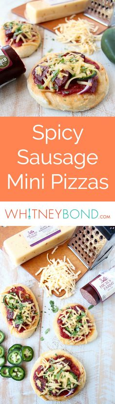 Sriracha pizza sauce, jalapenos, summer sausage and jalapeno cheddar cheese top this delicious mini pizza recipe, perfect for game days and parties! Mini Pizza Recipes, Cheesy Recipes, Sweet Potato Recipes, Beef Recipes, Jalapeno Cheddar, Cheddar Cheese, Easy Appetizer Recipes, Appetizers, Sriracha Recipes