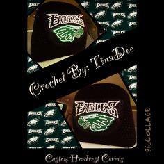 Crochet By: TinaDee Custom ordered headrest covers Philadelphia Eagles