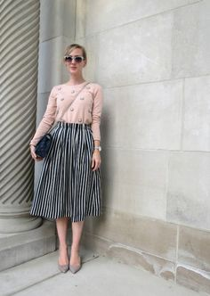 J Crew striped midi skirt, bejeweled sweatshirt, gray suede pumps, navy quilted handbag