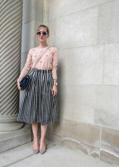 J Crew striped midi skirt, bejeweled sweatshirt, gray suede pumps, navy quilted handbag