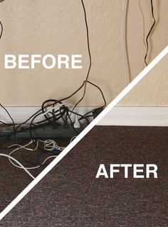 Go From A Hot Mess To Clean // How To Hide Your Desk Cords