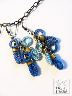 Dangle long blue earrings, crochet with fine blue synthetic silk on brass loops with antique bronze plated elements.  Earrings for a day to day wear,
