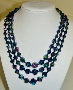 "Elegant Vintage Aurora Borealis Blue ""Carnival"" Glass Bead Multistrand Necklace*"