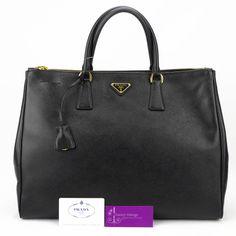 #PRADA LUX BN1802 (L) Black Colour Saffiano Leather Gold Hardware Good Condition ref.code-(KKLS-9)