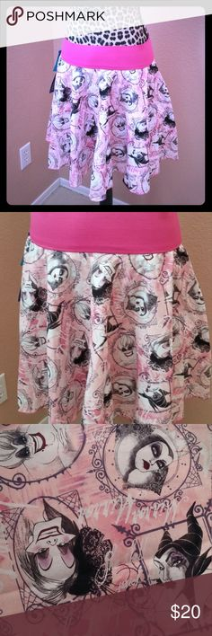 "Pink Disney Villains circle skater style skirt - S On sale for $20! Normally $35!!  *****Sale Item****** This skirt is made by me. Circle skirts are awesome, they are super flattering on all body types. The have a slight flair at the bottom that's super feminine and sweet.   Junior's Small Specs:  Waist size - 28"" Length - 15""  ****All TruFandom labeled items are custom made by me**** TruFandom Skirts Circle & Skater"