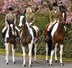 Queen Elizabeth II, centre, her daughter Princess Anne, right, and granddaughter Zara Phillips pose together in the grounds of Windsor Castle, England, during Easter, in this photo made available in London to mark the Queen's 78th birthday on April 21, 2004. The Queen is riding the homebred mare 'Tinkerbell', Princess Anne is riding 'Peter Pan' and Zara Phillips 'Tiger Lily'. Photo: AP