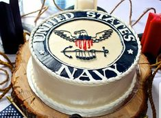 I like this idea of a US Navy Cake. Very simple yet to the point. This would be a good choice for my sons Graduation / US Navy Going Away party. Navy Party Themes, Us Navy Party, Military Send Off Party Ideas, Military Party, Military Retirement, Retirement Cakes, Retirement Parties, Going Away Cakes, Sailor Cake