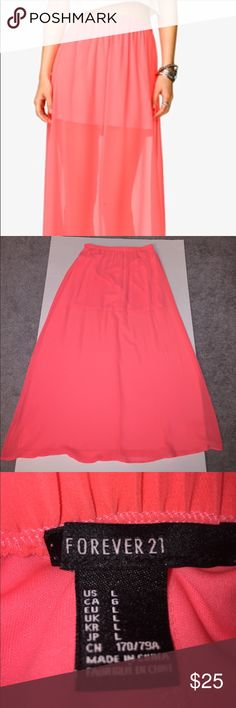 Forever 21 Sheer Coral Maxi Skirt Forever 21 Sheer Coral Maxi Skirt with Built in Slip.  Size Large.  Comes from a Smoke Free/Pet Free Home Forever 21 Skirts Maxi