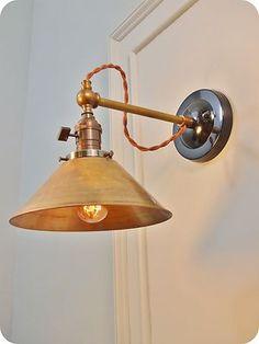 Vintage Industrial Wall Sconce Machine Age Lamp w Brass Cone Steampunk Light   eBay