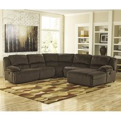 Signature Design by Ashley Thomas Reclining Sectional with Right Press Back Chaise - Rotmans - Reclining Sectional Sofa Worcester, Boston, MA, Providence, RI, and New England