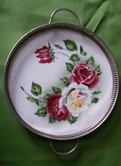 piatto da dolce con rose - stile liberty
