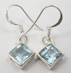 925 Solid Silver Genuine BLUE TOPAZ SQUARE Stone Beautiful Earrings 2.7CM