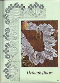 Com - Diy Crafts Crochet Boarders, Crochet Lace Edging, Thread Crochet, Love Crochet, Beautiful Crochet, Crochet Doilies, Crochet Flowers, Crochet Stitches, Crochet Designs