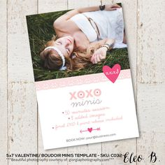 sku:C032 #PSD #photographer #photography #photoshop #template #marketing #free #fonts #etsy #eleob #5x7 #valentines #valentine #love #day #card #photocard #printable #eleob