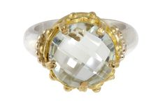 faceted green amethyst ring set in 22k gold
