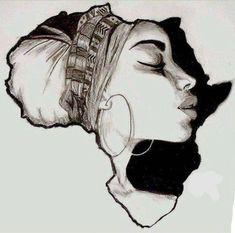Drawing On Creativity Africa Cross Stitch Pattern - African Art Decor Cross Stitch - African Hand Embroidery Pattern - Bla - Art Black Love, Black Girl Art, Black Art Painting, Black Artwork, Afrika Tattoos, Africa Drawing, Black Art Tattoo, Tattoo Art, Black Tattoos