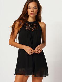 Black Sleeveless Halter Lace Loose Dress
