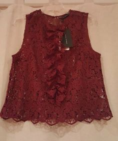 5a831f6b3e2b7 26.99 ❤ ZARA WOMENS LACE SLEEVELESS TOP DARK RED Sz.M BNWT ❤