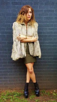 fierce sharp shoulder fur CAPE poncho. by AlexAndAftonVintedge