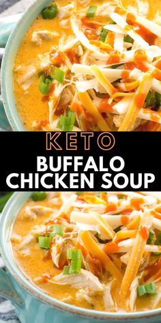 Keto Buffalo Chicken Soup- This low carb Instant Pot Buffalo Chicken Soup is loaded with tender shredded chicken, spicy buffalo sauce and tons of cheese! Under 5 net carbs per serving and perfect for keto meal prep! Pollo Keto, Cena Keto, Keto Brownies, Cooking Recipes, Healthy Recipes, Healthy Shredded Chicken Recipes, Low Carb Soup Recipes, Chili Recipes, Low Carb Soups