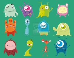 Cute Monsters (Complete) by samii69.deviantart.com on @deviantART. Cute alien blob like monsters. Different eyes, small and big.