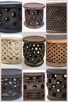 Bamileke stools is the king's seat in the Bamileke tribes of Cameroon. Each stool is carved from a single Cola wood tree trunk, hence the variety of designs and sizes.