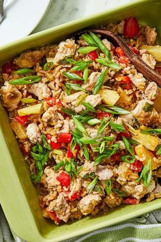 This chicken casserole recipe incorporates pineapple, peppers and rice to create the ultimate comfort food meets fall recipe. Whether you're looking to eat this chicken recipe as a cozy fall dinner or packing it for lunch the next day, it's a great choice for a comfort food recipe.#fallrecipes #comfortfood #chickenrecipes #casserolerecipes #chickencasserole #comfortfoodrecipes